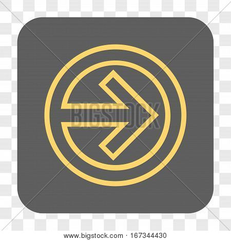 Import interface toolbar button. Vector icon style is a flat symbol on a rounded square button yellow and gray colors chess transparent background.