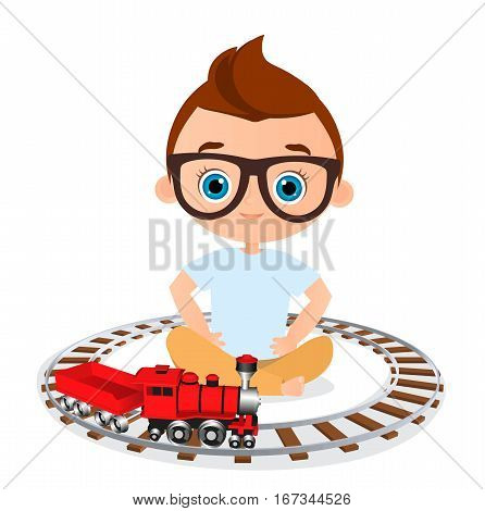 Young Boy With Glasses And Toy Train. Boy Playing With Train. Vector Illustration Eps 10 Isolated On