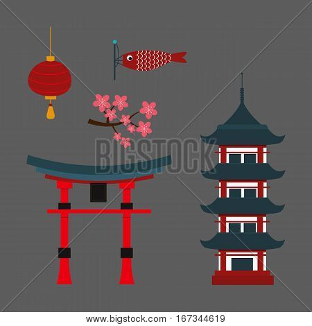 Chinese temple asia culture architecture and travel ancient building. Famous old structure religion. Beautiful decoration ancient building vector.