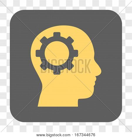 Intellect Gear interface toolbar button. Vector icon style is a flat symbol on a rounded square button yellow and gray colors chess transparent background.