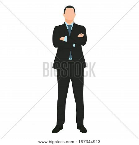 Young handsome businessman standing with folded arms. Dark suit blue tie and shirt. Front view. Flat vector illustration