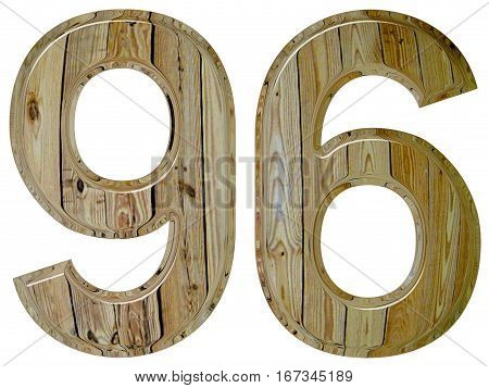Numeral 96, Ninety Six, Isolated On White Background, 3D Render