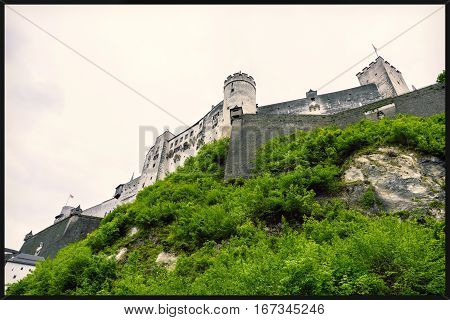 Hohensalzburg fortress view from below. Historic center of the city, Austria