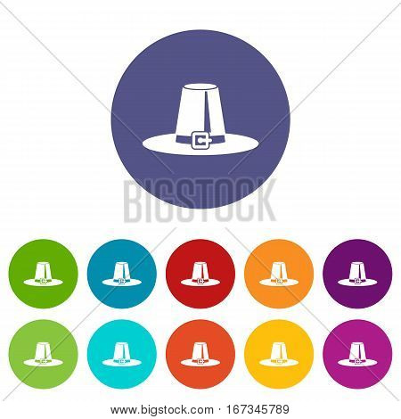 Pilgrim hat set icons in different colors isolated on white background