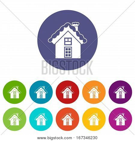 Small snowy cottage set icons in different colors isolated on white background