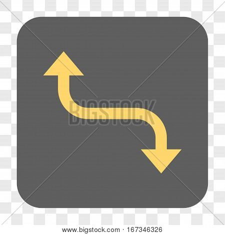Opposite Bend Arrow interface toolbar button. Vector icon style is a flat symbol in a rounded square button yellow and gray colors chess transparent background.