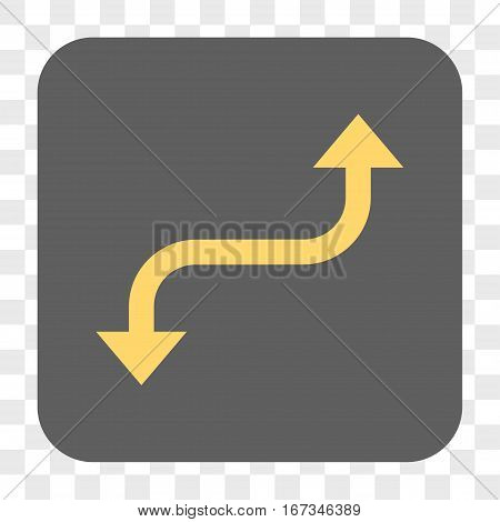Opposite Curved Arrow interface toolbar button. Vector icon style is a flat symbol inside a rounded square button yellow and gray colors chess transparent background.