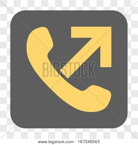 Outgoing Call interface toolbar button. Vector icon style is a flat symbol on a rounded square button yellow and gray colors chess transparent background.