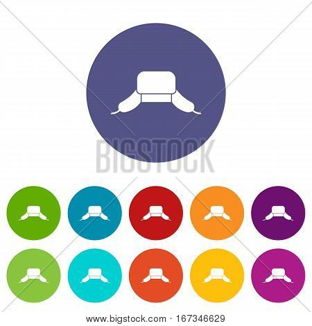 Hat with ear flaps set icons in different colors isolated on white background