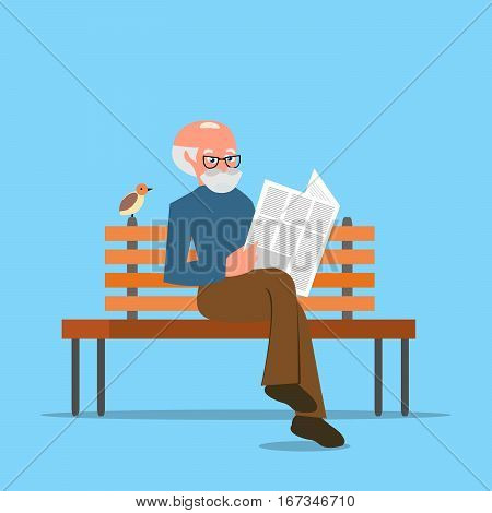 Grandfather sitting on a bench reading a newspaper or news. Cartoon character isolated on white background. Vector, illustration EPS10