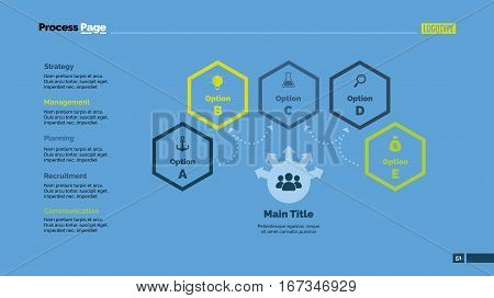 Five options process chart slide template. Business data. Graph, diagram, design. Creative concept for infographic, presentation, marketing. Can be used for topics like management, strategy, training.