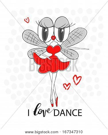 Fly ballerina. I love dance - inscriptions. Vector hand-drawn illustration. Cartoon concept art for textiles T-shirt printing magazines books web sites banners applications and other design project.