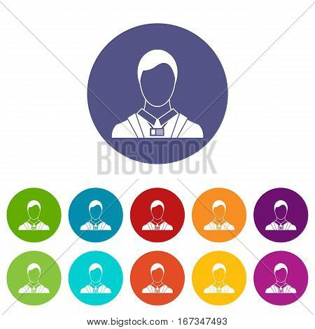 Businessman with identity name card set icons in different colors isolated on white background