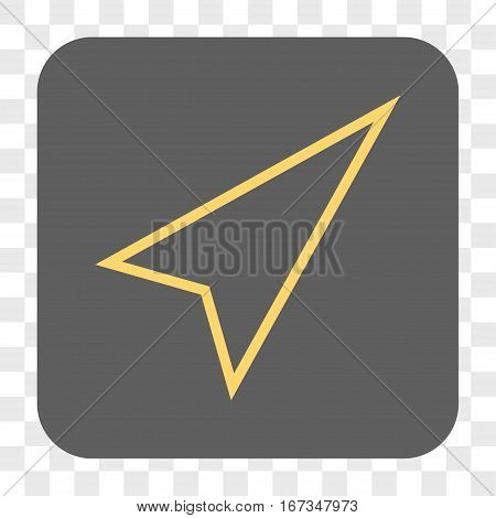 Pointer Right Up interface toolbar button. Vector icon style is a flat symbol on a rounded square button yellow and gray colors chess transparent background.