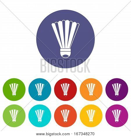 Shuttlecock set icons in different colors isolated on white background