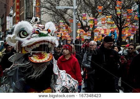 Chinatown, Montreal, Сanada - January 29, 2017: Crowd walking in historic Montreal Chinatown street alongside Montreal Chinese Lion Dance Club performing traditional Lion Dance for Chinese New Year of the Rooster Celebrations blessing the local merchants