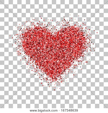 Red glitter Valentines day heart sign badge with transparent background for logo, design concepts, banners, labels, postcards, invitations, prints, posters, web. Vector illustration.