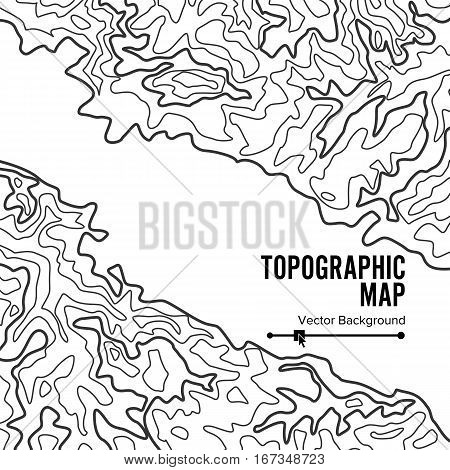 Contour Topographic Map Vector. Geography Wavy Backdrop. Cartography Graphic Concept.