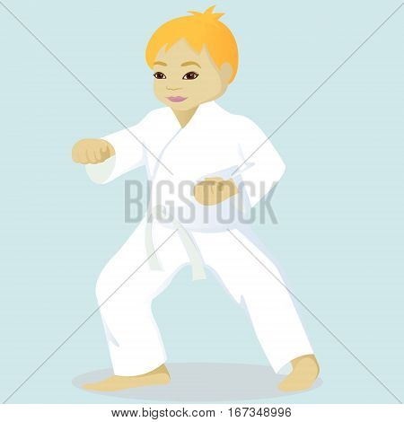 Little boy is engaged in karate vector illustration