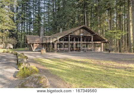 Large covered picnic shelter area in a park Washington state.