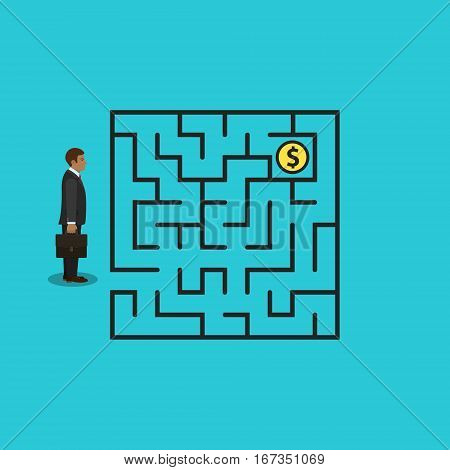 Businessman in labyrinth search money vector business success concept.