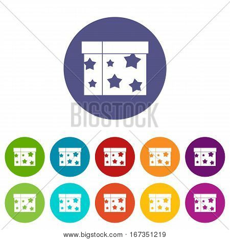 Box magician set icons in different colors isolated on white background