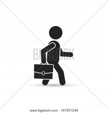 Walking businessman with briefcase or portfolio side view vector isolated silhouette illustration.