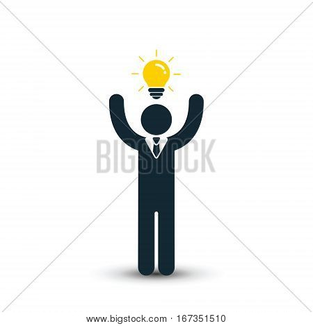 Businessman with bussiness idea vector isolated illustration. Creativity employee.