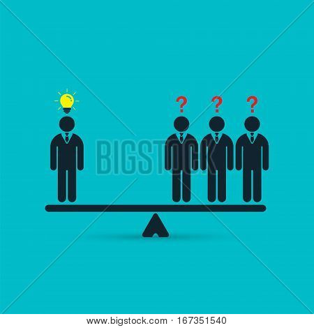 Businessman with idea on scales. Creative employee business concept. Vector illustration of workers comparison.