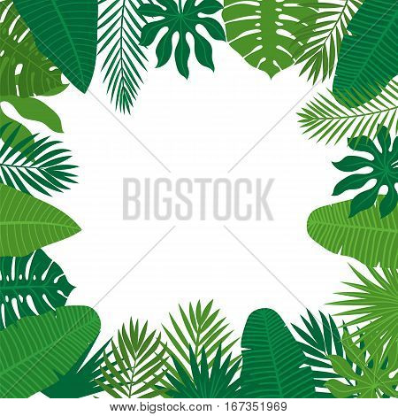 Abstract Background With Tropical Leaves. Jungle Pattern. Floral Design Background