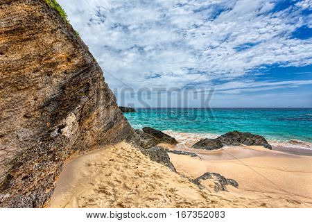 Landscape of Ocean rock and beach in Horseshoe Bay Southampton Parish Bermuda