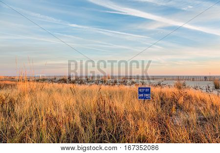 Evening Sunset at Cape May New Jersey at the shore. There are sand dunes and grass in the foreground.