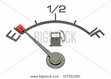 Fuel gauge 3D rendering isolated on white background