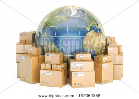Global shipping and delivery concept parcels with Earth. 3D rendering isolated on white background