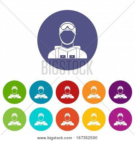 Military paratrooper set icons in different colors isolated on white background