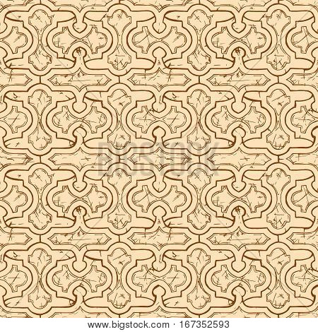 Medieval seamless pattern. Ornament in ink hand drawn style.