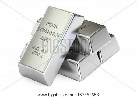 set of titanium closeup 3D rendering isolated on white background