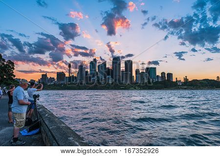 Sunset on the Sydney City Australia.JAN 30,2017 The City of Sydney is the local government area covering the Sydney central business district and surrounding inner city suburbs of the greater metropolitan area of Sydney.