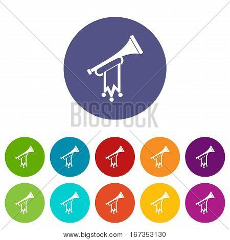 Trumpet with flag set icons in different colors isolated on white background