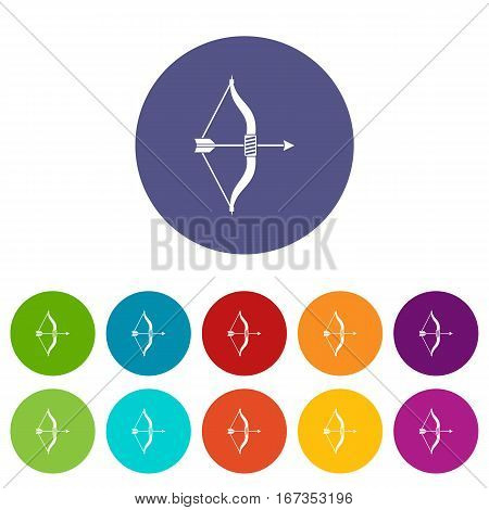 Bow and arrow set icons in different colors isolated on white background