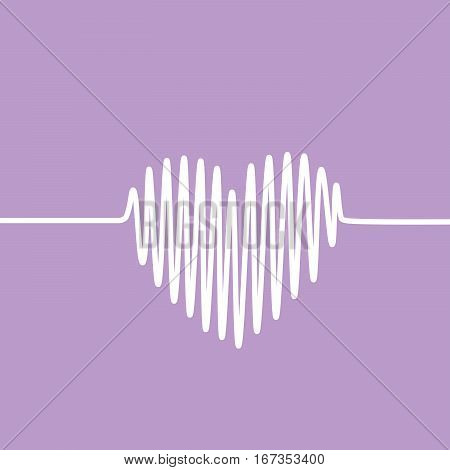 White heartbeat line in a shape of heart on violet background. Vector graph of ECG, or EKG.