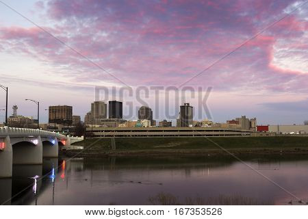 Sunset in Dayton, Ohio. Dayton Ohio USA.