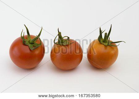 Three tomatoes (Solanum lycopersicum) on a white background