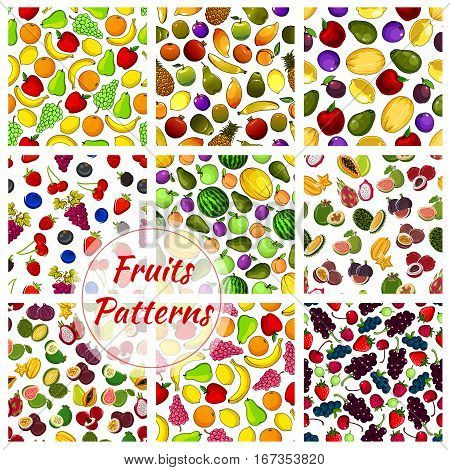 Set of farm vegetables and tropical fruit seamless pattern background. Pear and orange, banana and grapes, apple and lemon, kiwi and mango, plum and lychee, maracuya and fig, guava and strawberry. Vegetarian or vegan vitamin food theme