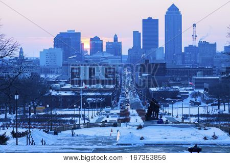 Des Moines skyline at sunset. Des Moines Iowa USA.
