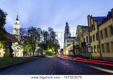 Vytautas the Great Church and the town hall. Kaunas Lithuania.