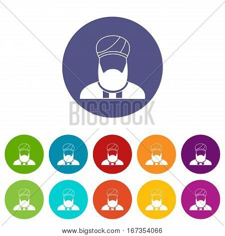 Muslim preacher set icons in different colors isolated on white background