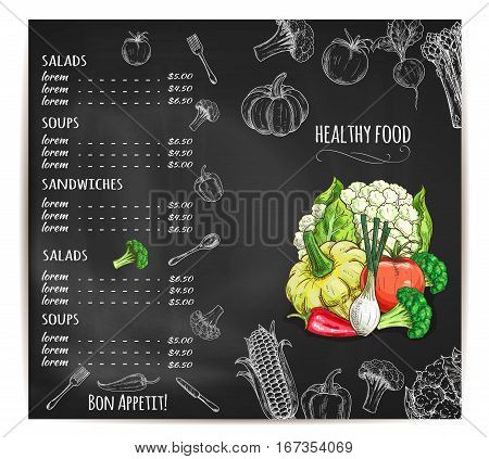 Vegetable food restaurant menu design. Prices on drawn on chalkboard for salad from radish, corn and broccoli, chili red pepper and onion, cauliflower and pumpkin, asparagus and squash, tomato. Healthy vegetarian lunch or dinner theme