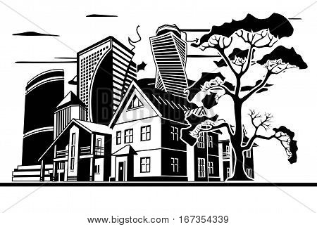 Tree, several houses and high-rise buildings, vector graphic arts