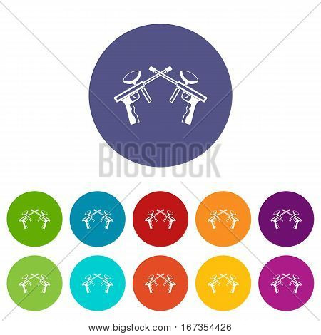 Paintball guns set icons in different colors isolated on white background